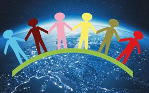 Iconos de silueta infantil de niños agarrados de mano con foto del planeta fierra de fondo